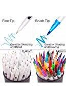 armex Brushpen Ve Fineliner 24 Renk Set Çift Taraflı Fırça Ve Yazı