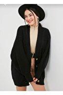 Nazende Stil Kadın Örgü Desenli Salaş Hırka -Siyah