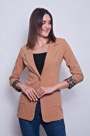 Jument Yakalı Cepli Uzun Kol Katlamalı Blazer Kumaş Ceket