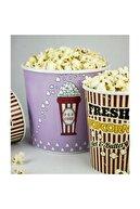ZucciHome Popcorn Kovası 3 lü Set Çizgili Fresh
