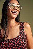 Defacto Çilek Desenli Kare Yaka Yırtmaçlı Yazlık Mini Elbise