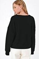 mor butik Kadın Siyah Önü Bağcıklı Oversıze Sweatshirt