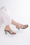Marjin Kadın Topuklu Terlik Diksayeşil