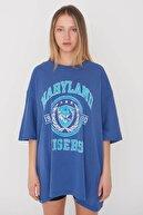 Addax Baskılı Oversize T-shirt P9546 - D8