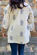 FURKAN EXCLUSIVE Kadın Nakış Işlemeli Keten Pamuk Gömlek