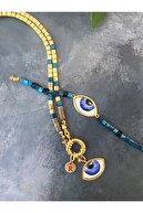 floom jewelry Kadın Mavi Göz Detaylı Gold Ve Lacivert Küp Hematit Kolye