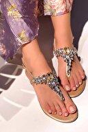 MaiaMarca Gold Taşlı Sandalet