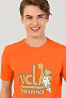 Ucla Pınole Turuncu Bisiklet Yaka Baskılı Erkek T-shirt
