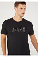 Mavi Logo Baskılı Siyah Tişört 065781-900