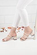 Weynes Kadın Bej Deri Topuklu Terlik Sandalet Ba20888