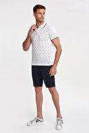 Hemington Erkek Desenli Beyaz Triko Polo T-shırt