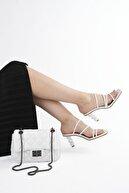 Marjin Kadın Topuklu Terlik Diksabeyaz