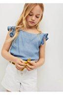 Mango Kız Çocuk Beyaz Dantelli Koton Şort
