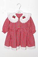 Minik Ayı Kız Bebek Kırmızı Beyaz Pötikareli Kiraz Detaylı Yakası Fırfırlı Uzun Kollu Elbise