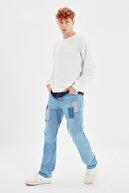 TRENDYOL MAN Mavi Erkek Yamalı Regular Fit Jeans TMNSS21JE0368