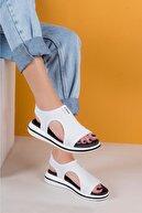 yesh Kadın Beyaz Mandela Ortapedik Streç Sandalet