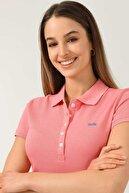 Ucla Shaver Pembe Polo Yaka Nakışlı Kadın Tshirt
