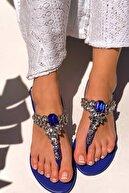 MaiaMarca Kadın Lacivert Taşlı Sandalet