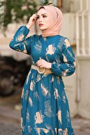 InStyle Fırça Desen Kemerli Elbise - Indigo