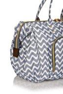 Lal Baby Baggage Bag Zikzak Gri Omuz Askılı Anne Bebek Bakım Çantası