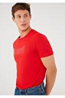 Mavi Logo Baskılı Kırmızı Tişört 065781-33099