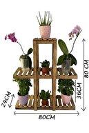 DEHAMODA 3 Katlı 7 Bölmeli Dekoratif Doğal Ahşap Çiçeklik Bahçe-balkon Saksı Standı