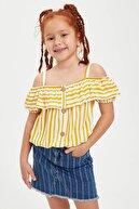 Defacto Kız Çocuk Çizgili Düğmeli Bluz