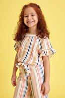 Defacto Kız Çocuk Çizgili Kısa Kollu Bluz