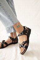 Limoya Hakiki Deri Alize Siyah Boncuk Ve Yaprak Detaylı Sandalet