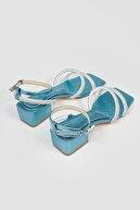 Limoya Kadın Mavi Cara Bilekten Baretli Parlak Taşlı Topuklu Sandalet