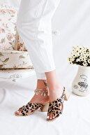 Limoya Kadın Kahverengi Leopar Çapraz Hasır Alçak Topuklu Terlik