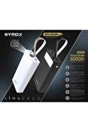 Syrox J-143 Pb115 Beyaz 30.000 Mah Led Işıklı 2.çıkışlı Powerbank Yedek Batarya Beyaz Renk Pb115b