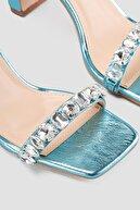 Limoya Kadın Mavi Taşlı Topuklu Sandalet