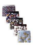Harry Jons Erkek 5'li Desenli Renkli Pamuklu Premium Paket Boxer