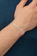 İn Dubai Silver 925 Ayar Figaro Erkek Gümüş Zincir Bileklik Dbse4006