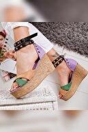 Limoya Lisa Lila Ten Haki Zımbalı Hasır Dolgu Topuk Ayakkabı