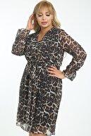 1fazlası Kadın Büyük Beden Çok Renkli Kruvaze Yaka Astarlı Şifon Elbise