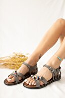 Limoya Kadın Platin Hakiki Deri Boncuk Yaprak Detaylı Sandalet