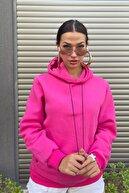 MODAGEN Kadın Oversize Kapüşonlu Sweatshirt Şeker Pembesi