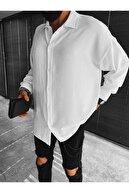 ablukaonline Erkek Oversize Düğmeli Beyaz Gömlek