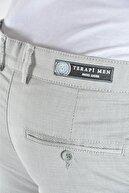 Terapi Men Erkek Gri Slim Fit Keten Pantolon