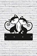 ECELUXE Dekoratif Sevimli Kediler Anahtar Askısı Ahşap Anahtarlık Dekor