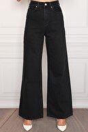 Darkly Jeans Kadın Siyah Süper Yüksek Bel Geniş Paça Wide Leg Jean Pantolon