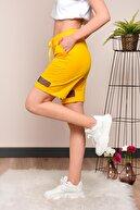 Mossta Kadın Sarı File Detaylı Penye Şort