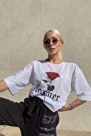 SwistLuxury Kadın Beyaz Forever Baskılı Oversize Bisiklet Yaka Tshirt