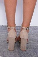 Mossta Kadın Bej Süet Topuklu Ayakkabı