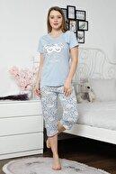 Mossta Kadın Mavi Kısa Kol Kapri Pijama Takım