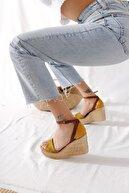 Limoya Kadın Hardal Haki Taba Kemerli Dolgu Taban Sandalet