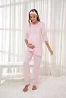 Siyah İnci Pembe 3'lü Sabahlıklı Dantelli Düğmeli Modal Hamile Pijama Takım Bandana Hediyeli