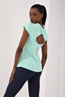 Tommy Life Mint Yeşili Kadın Sırt Pencereli Kısa Kol Standart Kalıp O Yaka T-shirt - 97101